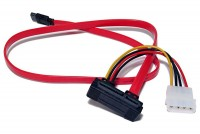 SATA-300 CABLE WITH POWER CONNECTOR 1m