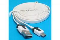LITTEÄ USB-2.0 KAAPELI A-U/microB 1,8m valkoinen