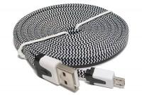 LITTEÄ USB-2.0 KAAPELI A-U/microB 1,8m musta/valkoinen