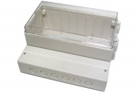 TRANSPARENT PLASTIC ENCLOSURE IP65 106x222x185mm