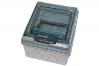 TRANSPARENT PLASTIC ENCLOSURE 6-MOD DIN-RAIL IP65