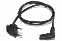 EURO POWER CORD IEC C7 ANGLE90 BLACK 1m
