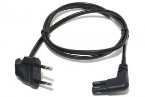 EURO POWER CORD IEC C7 ANGLE90 BLACK 1m