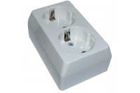 2-WAY OUTLET SOCKET, GROUNDED, SURFACE-MOUNTABLE