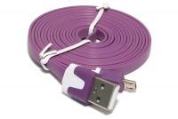 Litteä USB-2.0 KAAPELI A-U/microB 1,8m VIOLETTI