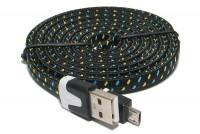 Litteä USB-2.0 KAAPELI A-U/microB 1,8m MUSTA