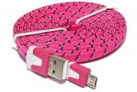 LITTEÄ USB-2.0 KAAPELI A-U/microB 1,8m pinkki