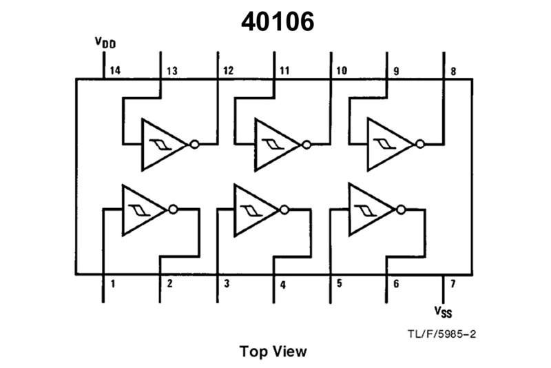 ... CMOS-LOGIC IC SCHMITT 40106 DIP14