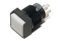 LIGHTED SPDT PUSH-BUTTON SWITCH SQUARE WHITE