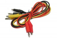 4mm TEST LEADS WITH CROCODILE CLIPS BLK+RED+YEL 0,8m