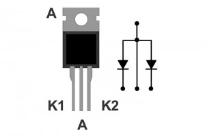 FAST DUAL DIODE 2x8A 200V 35ns TO220, common anode