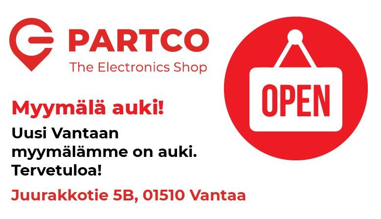 Partco myymälä avoinna!
