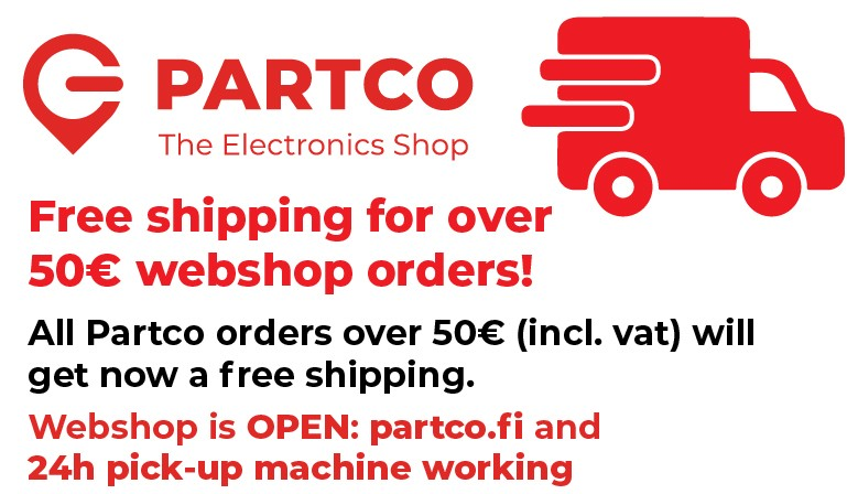 Free shipping for Partco orders over 50€