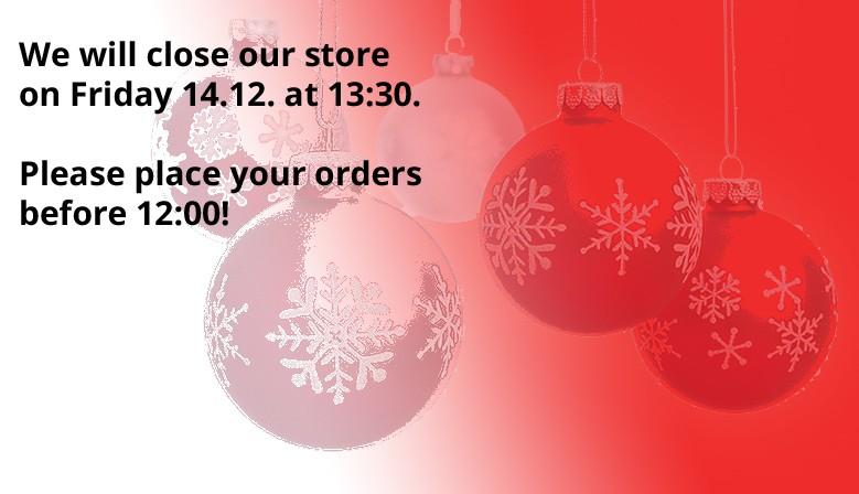 Closing on Friday 14.12. at 13:30