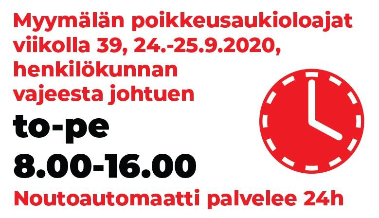 Partco poikkeusaukioloajat to-pe 24.-25.9.2020