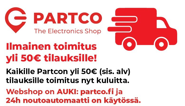 Ilmainen toimitus Partcon yli 50€ ostoksille