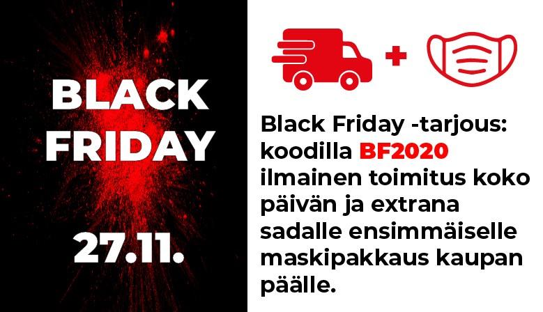 Black Friday 2020 ilmainen toimitus koodilla BF2020
