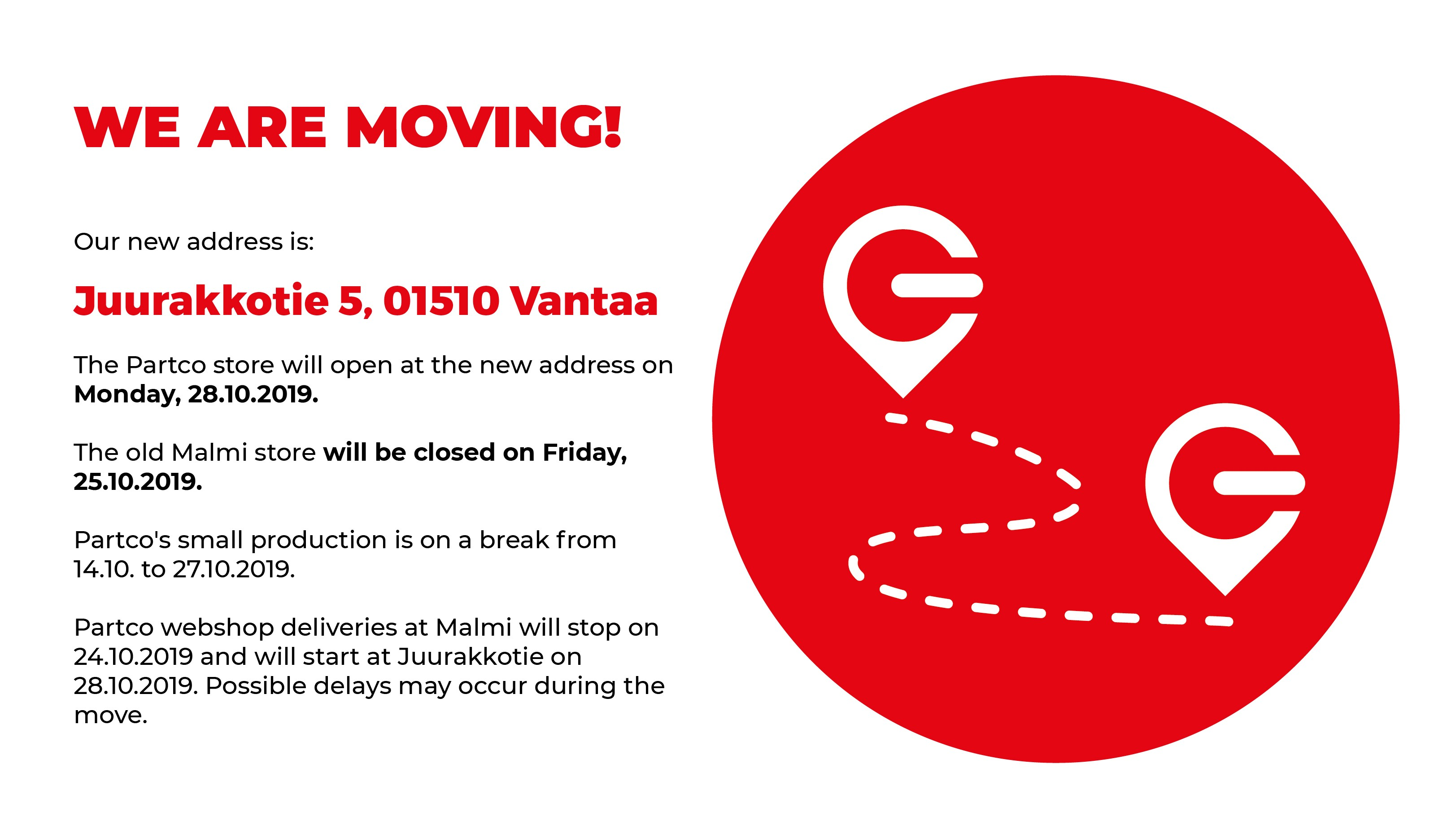 We are moving 28.10.